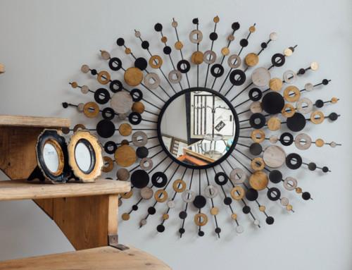 Miroir soleil rétro métal 3 coloris 65×90