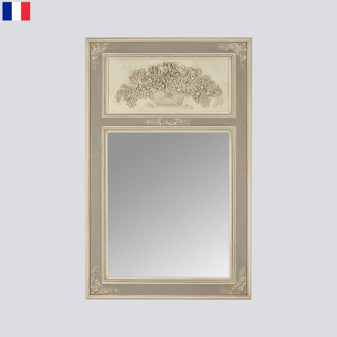 Miroir trumeau gris lin miroirs emde for Miroir trumeau